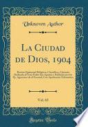 libro La Ciudad De Dios, 1904, Vol. 63