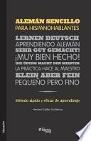 libro Aleman Sencillo Para Hispanohablantes. Metodo Rapido Y Eficaz De Aprendizaje