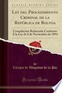 libro Ley Del Procedimiento Criminal De La República De Bolivia