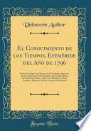 libro El Conocimiento De Los Tiempos, Efeméride Del Año De 1796