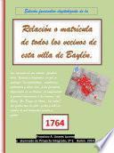 libro Edición Facsimilar Digitalizada De La Relación O Matrícula De Todos Los Vecinos De Esta Villa De Baylén (bailén). 1764