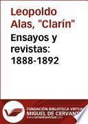 libro Ensayos Y Revistas: 1888 1892