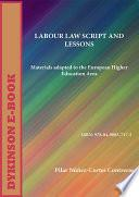 libro Labour Law Script And Lessons. Materials Adapted To The European Higher Education Area