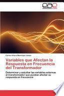 libro Variables Que Afectan La Respuesta En Frecuencia Del Transformador