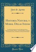 libro Historia Natural Y Moral Delas Indias
