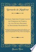 libro Sagrado Arbitrio Commutacion De Comedias De Corpus, En Una Octava Solemne Al Santissimo Sacramento