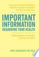 libro Important Information Regarding Your Health / Informaci N Importante De La Salud